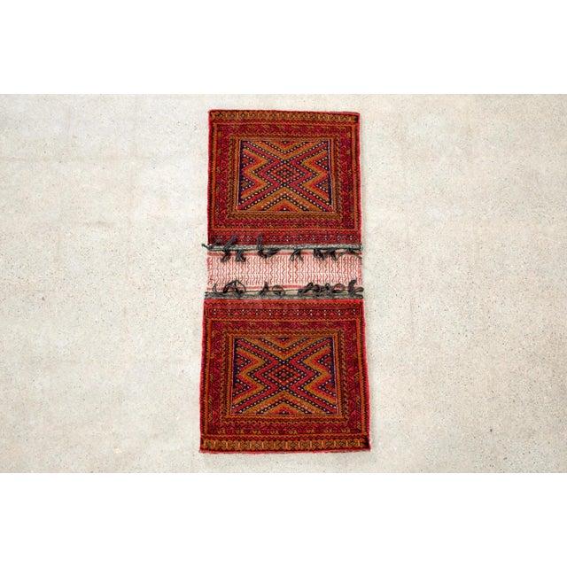 "Antique Balochistan Wool Tribal Saddlebag Rug - 1'8"" x 3'8"" For Sale - Image 11 of 12"