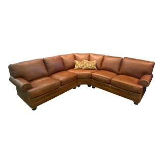 Modern Leathercraft Brown Leather Sectional For Sale