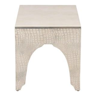 Sarreid Ltd Croc Side Table Silver For Sale