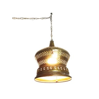 Large Vintage Mid-Century Handcrafted Brass Moroccan Hanging Lamp For Sale