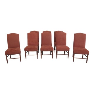 Set of 8 Wright Cherry Suede Upholstered Dining Room Chairs For Sale