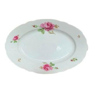 Vintage Pink Rose China Platter, Retro Elegance For Sale
