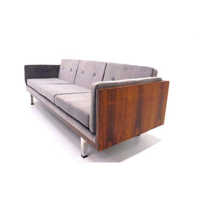 1960s Danish Modern Rosewood Case Sofa by Jydsk Møbelværk, Gray Velvet Upholstery For Sale - Image 5 of 8
