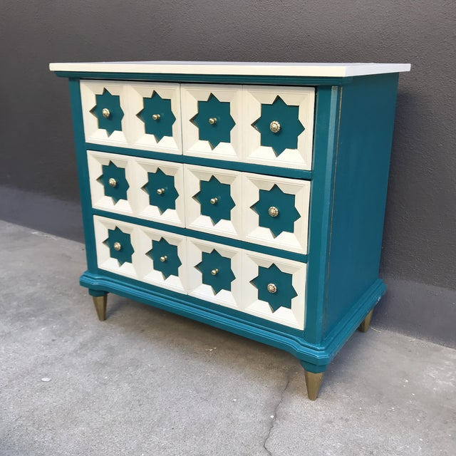 Wood Moroccan Star MCM Painted Chest For Sale - Image 7 of 8