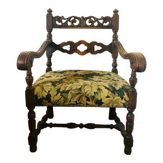 Late 19th Century Carved Oak Jacobean Armchair For Sale