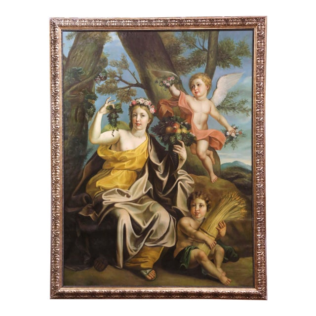 Large Mid-Century French Allegory Oil on Canvas Painting in Carved Frame For Sale