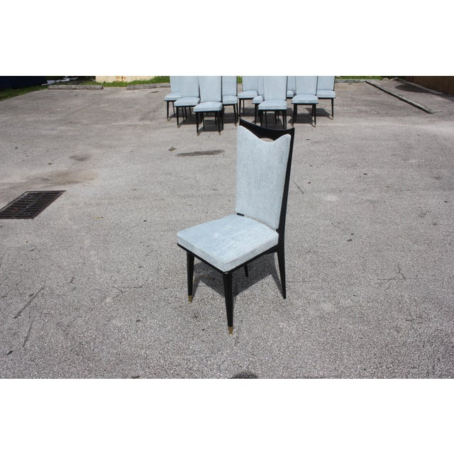 Monumental Set of 12 French Art Deco Dining Chairs, Circa 1940s For Sale - Image 11 of 13