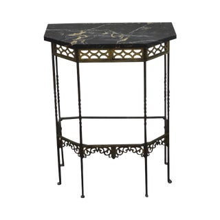 1930s Bronze & Iron Marble Top Console w/ Mirror (possible Oscar Bach) For Sale