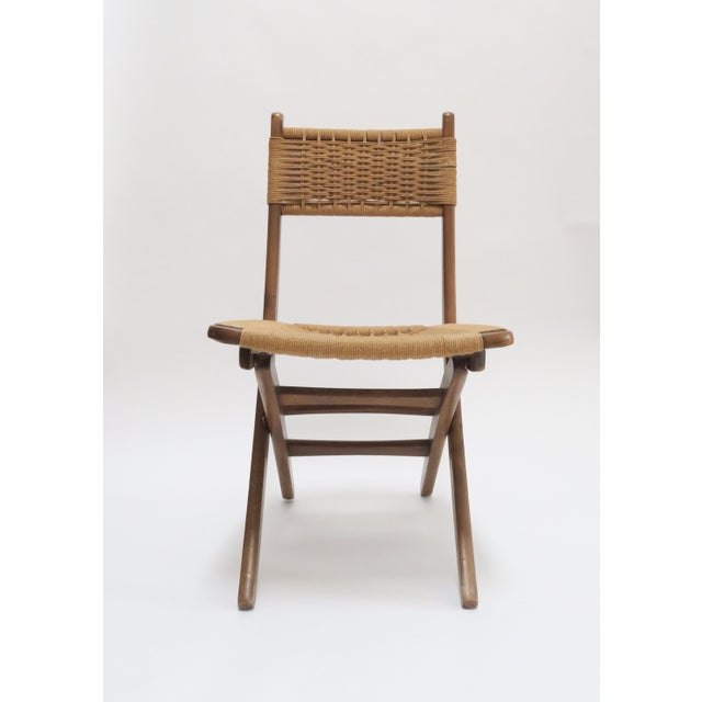 Cottage Vintage Danish Modern Rope Folding Chair For Sale - Image 3 of 7