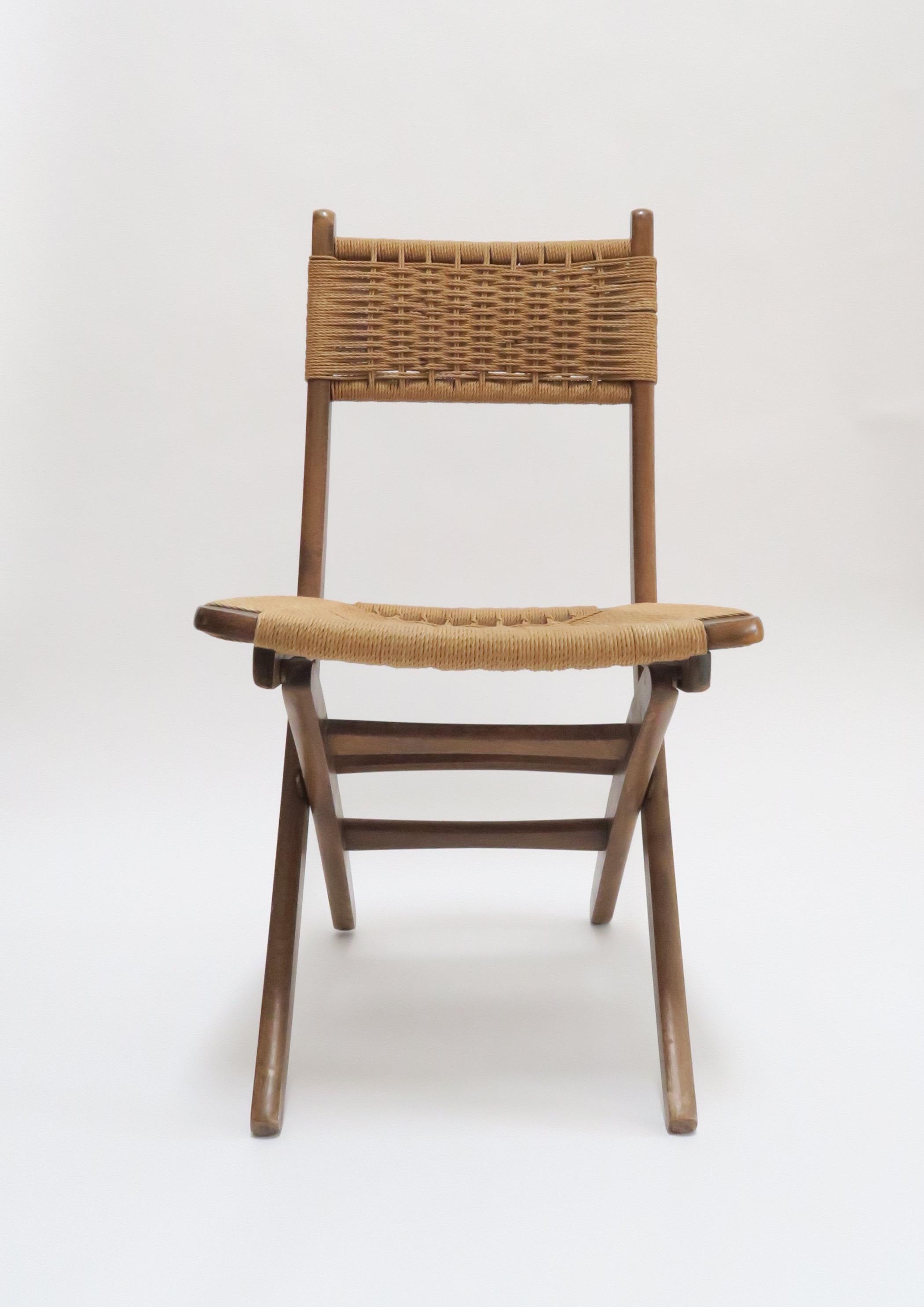 Modern Folding Chair #41 - Vintage Danish Modern Rope Folding Chair - Image 3 Of 7