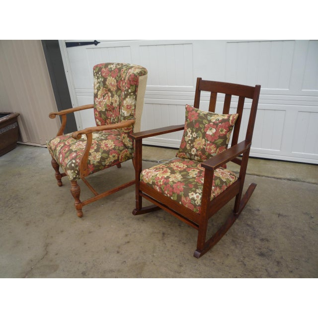 Antique Brown Floral Tufted Armchair & Petite Oak Rocking Chair - A Pair For Sale In Austin - Image 6 of 9