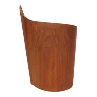 1950s Einar Barnes for P.S. Heggen Teak Wastepaper Basket For Sale