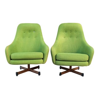 1950s Vintage Mid-Century Modern Viko Baumritter High Back Swivel Chairs S/2 For Sale