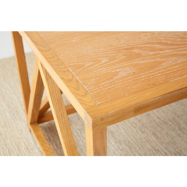Oak Mid-Century Modern Oak Architectural Writing Table Desk For Sale - Image 7 of 13