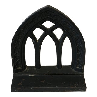 Mid 20th Century Antique Cast Iron Cathedral Window Bookend For Sale