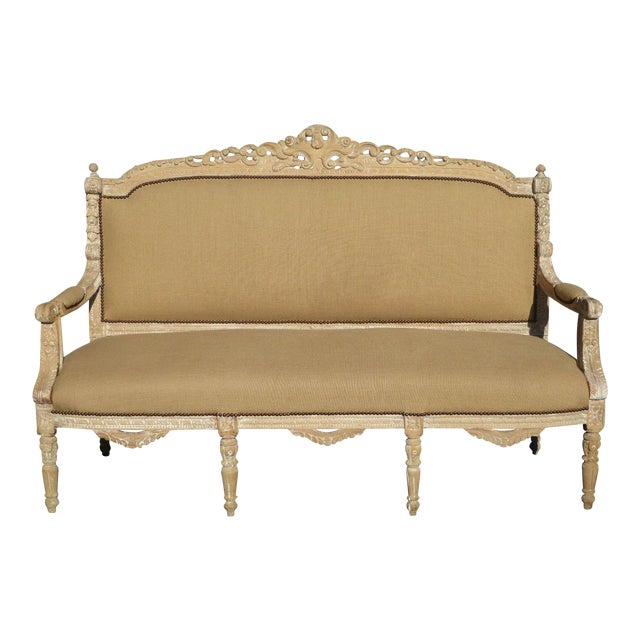French Provincial Burlap & Carved Wood Settee For Sale