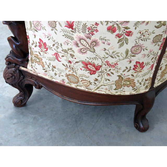 Brown Carved Victorian Bergere For Sale - Image 8 of 11