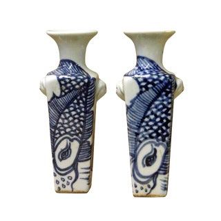 Miniature Chinese Blue & White Porcelain Graphic Square Vases - a Pair