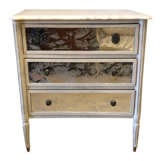 Marble-Top Hollywood Regency Decorated Commode Nightstand in Manner of Jansen For Sale