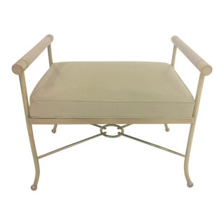 Brass Bench With Creamy Off White Leather For Sale