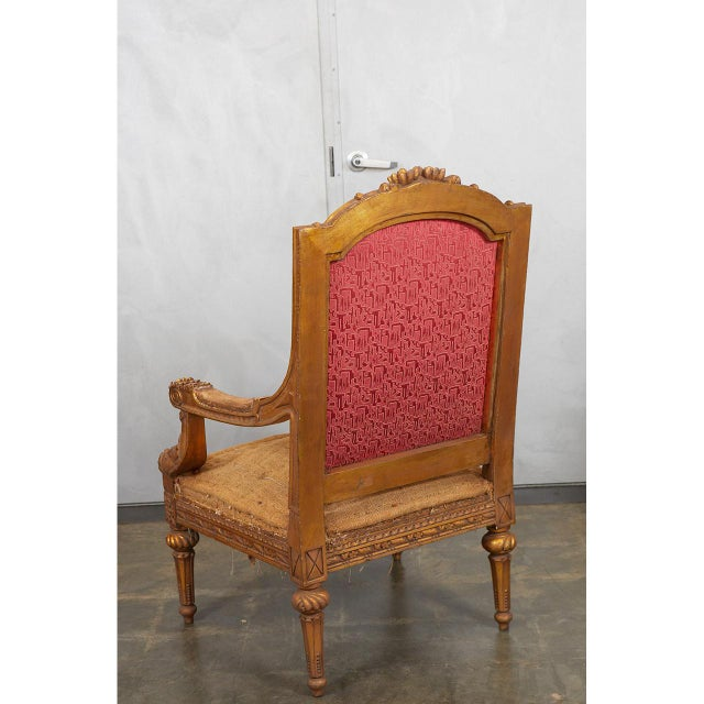 Fabric Pair Louis XVI Style Armchairs For Sale - Image 7 of 8