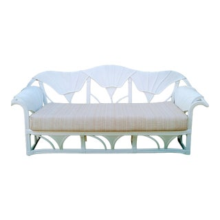Rare Vintage Sculptural White Gingko Leaf Pencil Reed Betty Cobonpue Outdoor Patio Sofa For Sale