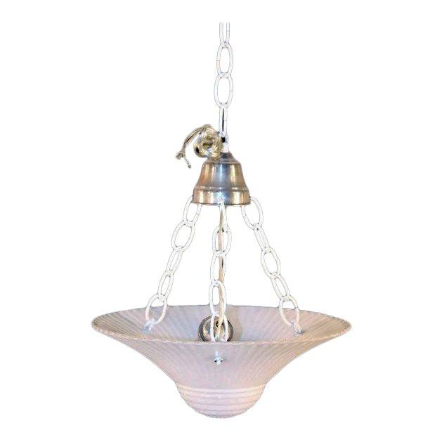 Vintage Milk Glass Hanging Dish Light For Sale
