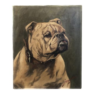 English Oil on Canvas Painting of a Bulldog by H. Wernegreen For Sale