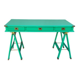 Lexington Nautica Campaign Style Emerald and Brass Desk For Sale