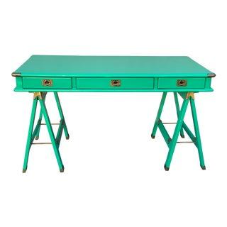 Lexington Nautica Campaign Style Emerald and Brass Desk For Sale