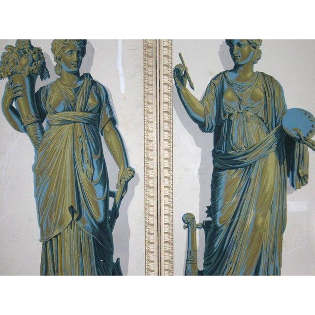 Blue Greek Goddesses Wallpaper Panels - Set of 4 For Sale - Image 8 of 11