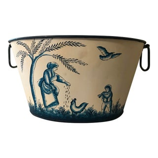 Blue Toile Painted Metal Bucket For Sale