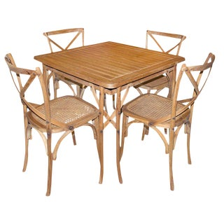 Traditional Light Wood Dining Set - Set of 5