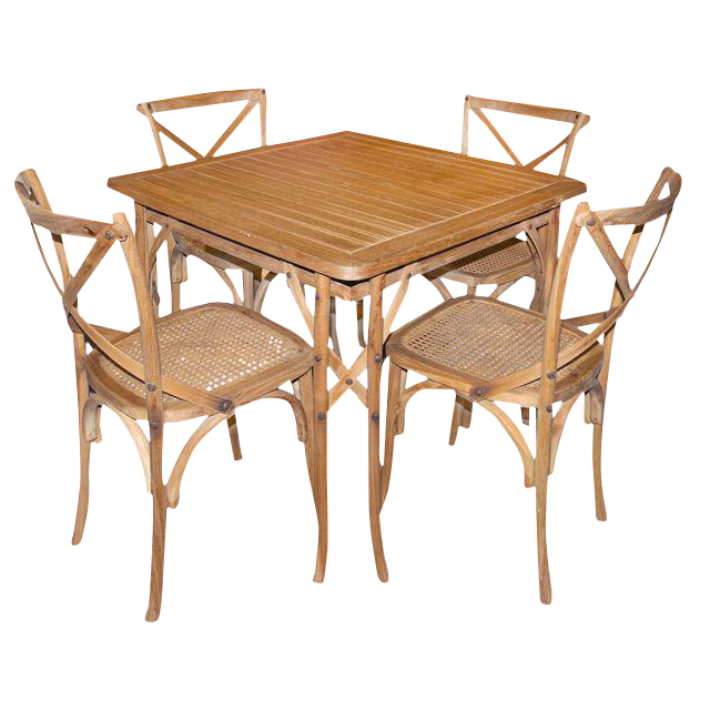 Traditional Light Wood Dining Set   Set Of 5 For Sale