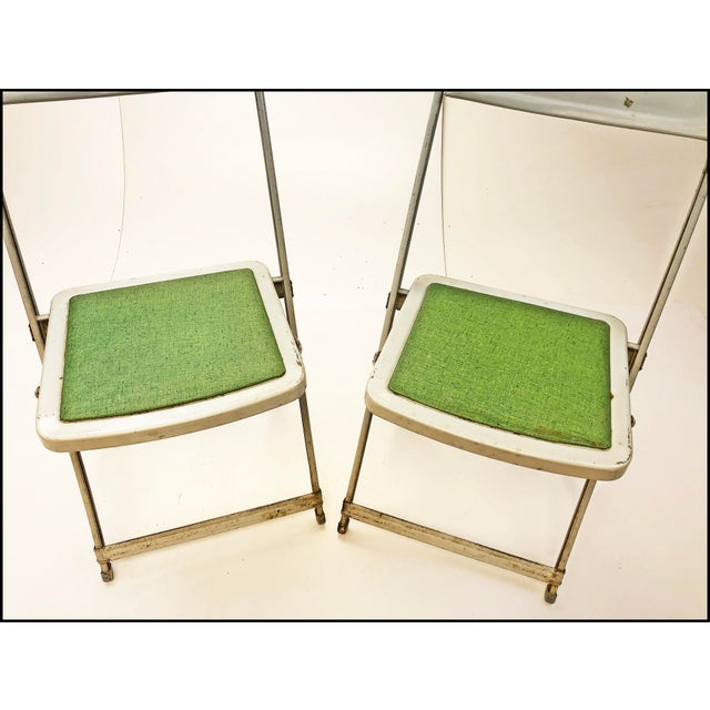 Industrial Vintage White Metal Folding Chairs With Green Vinyl Seats - Set of 4 For Sale - Image 3 of 11