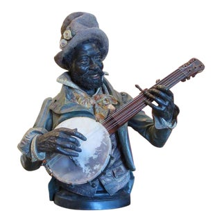 Goldscheider Polychromed Ceramic Minstrel With Banjo For Sale