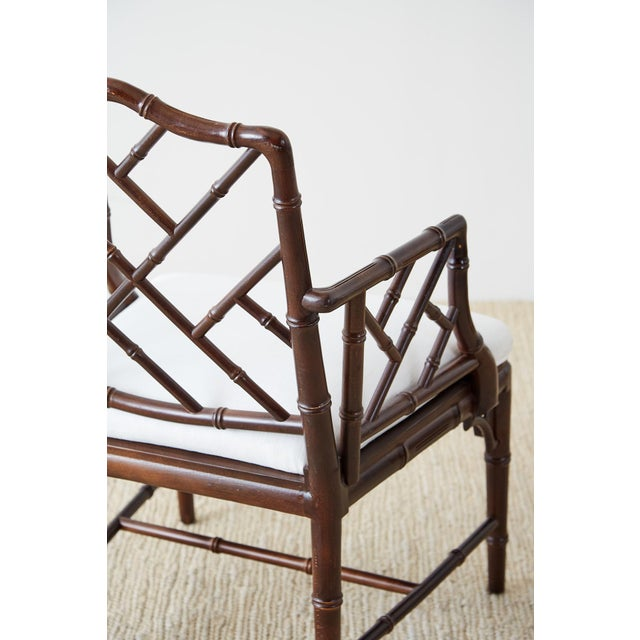 Wood Chinese Chippendale Chocolate Lacquered Faux Bamboo Dining Chairs For Sale - Image 7 of 13