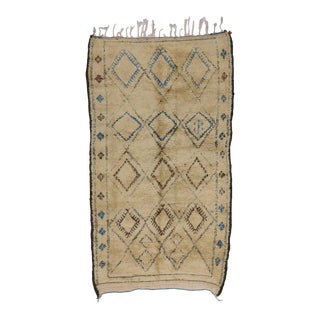 Vintage Beni Ourain Moroccan Rug with Tribal Boho Chic Style