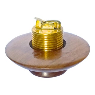 Danish Walnut Saucer Cigarette Lighter For Sale