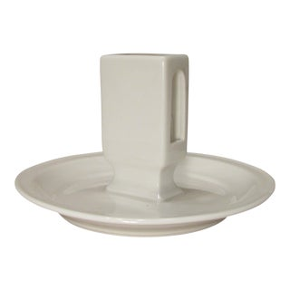 White Porcelain Ashtray w/ Matchbox Holder