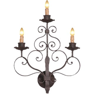 1990s Italian Three Light Wrought Iron Sconce For Sale