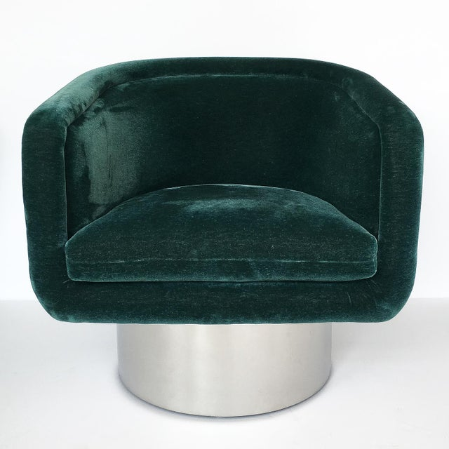 1970s Pair of Leon Rosen Pedestal Swivel Lounge Chairs for Pace Collection For Sale - Image 5 of 12