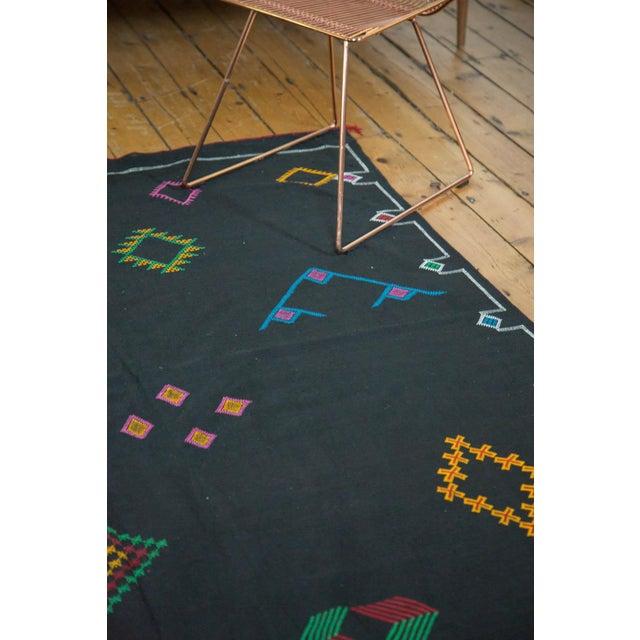 Black Moroccan Embroidered Kilim Carpet - 6' x 9' - Image 6 of 7