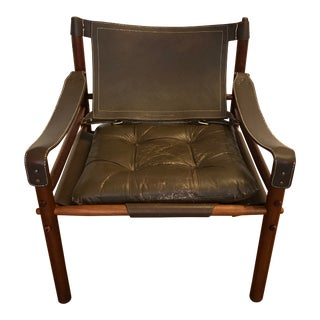 Vintage Arne Norell Leather Safari Chair For Sale