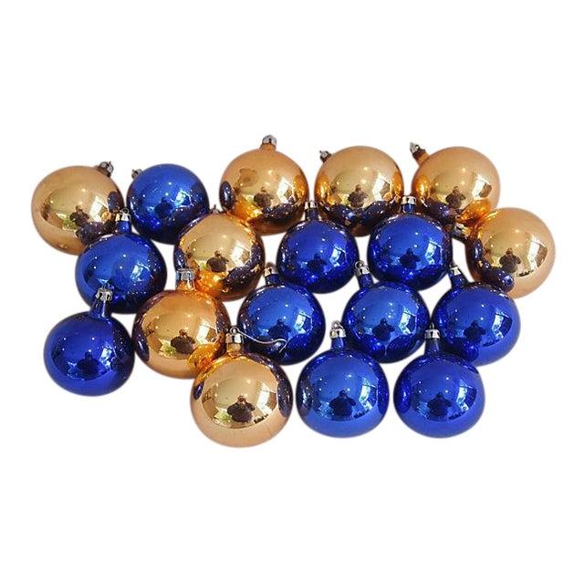 Vintage Gold Blue Christmas Ornaments Set Of 18