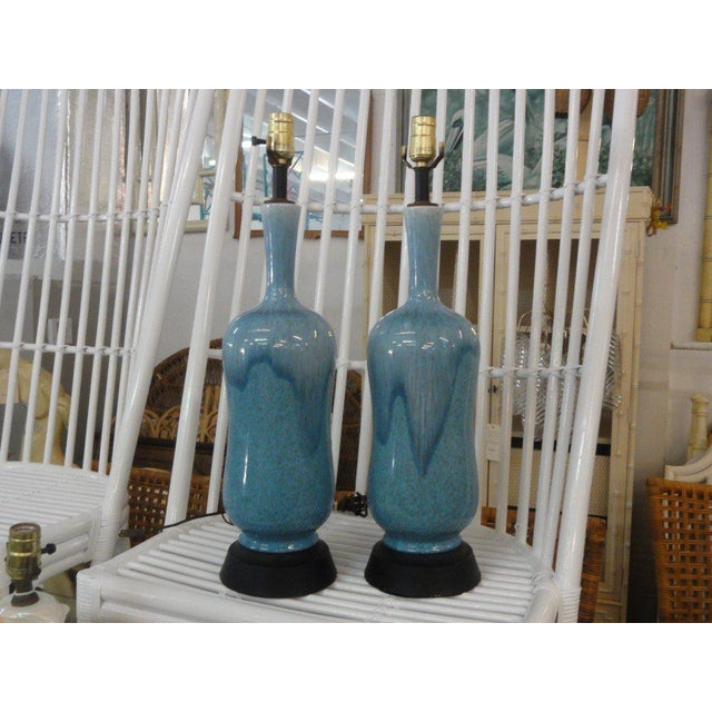 Mid-Century Modern Robin Egg Blue Glazed Lamps - A Pair - Image 10 of 10