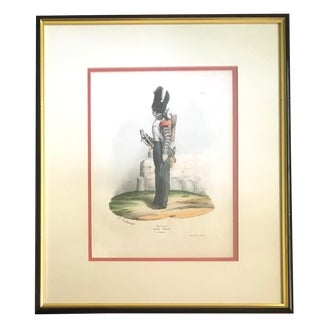 "Framed Early 19th C. Military Lithograph After Hippolyte Belange: ""Infanterie, Garde Royale, Clarion"" For Sale"