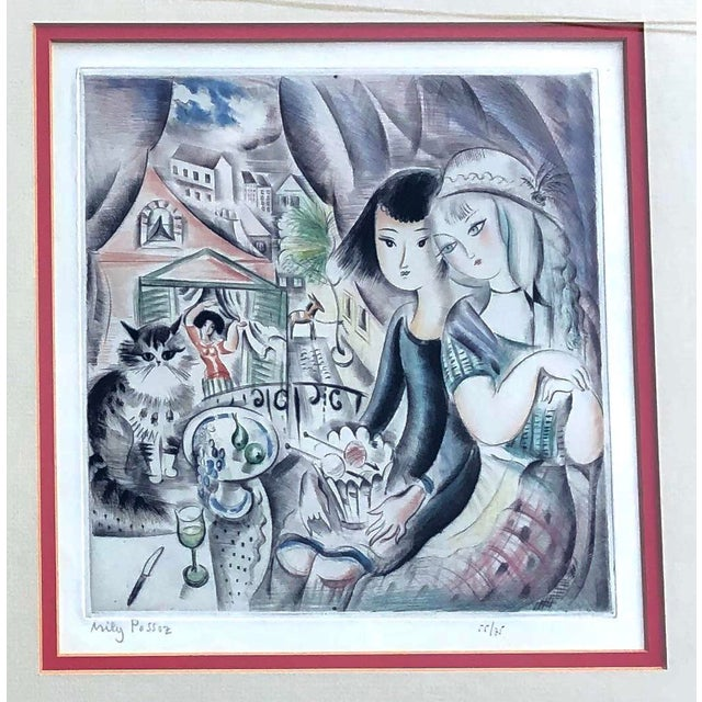 1930's Deco Miley Possez Original Colored Etching Framed For Sale In Philadelphia - Image 6 of 6