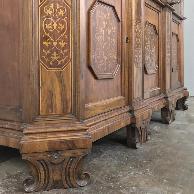 Antique Italian Baroque Inlaid Walnut Buffet For Sale - Image 11 of 13