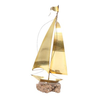 Mid-Century Brass Sail Boat Sculpture on Old Driftwood